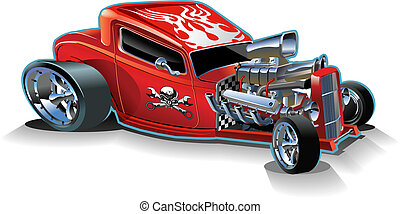 Cartoon retro hot rod isolated on white background. Available EPS-8 vector format separated by groups and layers for easy edit