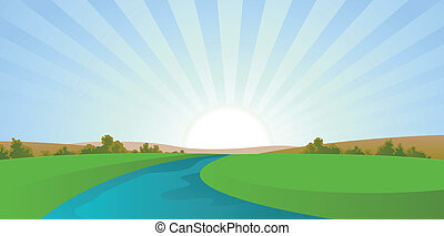 Illustration of a seasonal landscape in cartoon style