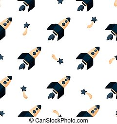 Cartoon rocket ship seamless pattern. Simple kids background with outer space.