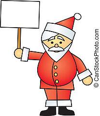 Cartoon Santa Holding Sign