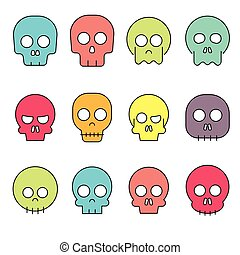 Cartoon skull vector icon set