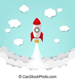Cartoon Sky With Rocket And Cloud