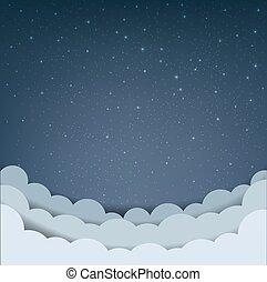 Cartoon Sky With Stars And Cloud