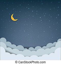 Cartoon Sky With Stars And Clouds