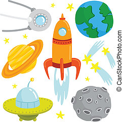 Cartoon space set with vector elements.