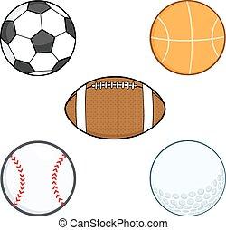 Cartoon Sport Balls. Collection Set