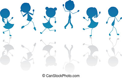 cartoon stick children silhouette active for kids, fun and others