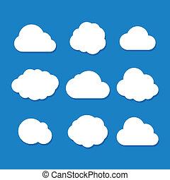 Cartoon Style Cloud Set. Vector