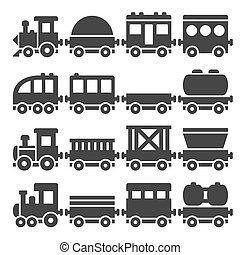 Cartoon Style Toy Railroad Train Set. Vector