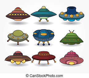 cartoon ufo spaceship icon set