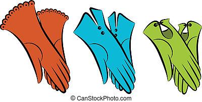 Cartoon vintage woman's gloves. Vector