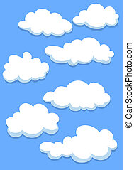 Cartoon white clouds on blue sky for design