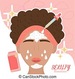 cartoon woman apply skin care products, beauty routine