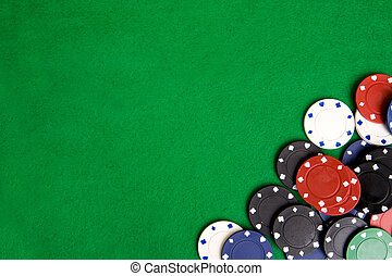Casino chips on a green felt - background image