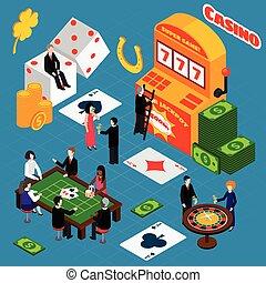 Casino Interior Luck Symbols Isometric Banner