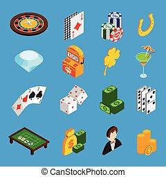 Casino Isometric Icons Set
