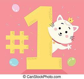 Cat Number One Illustration