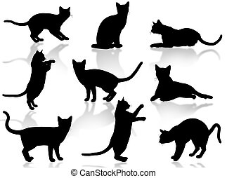 Illustration about funny cats silhouette in typical poses