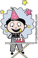 Celebrating Birthday Party - Retro Repairman Cartoon Worker Vector Illustration