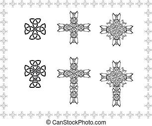 celtic stylization cross abstract frame elements icon object patterns black white