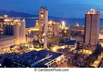 Cement Plant, Concrete or cement factory, heavy industry or construction industry.