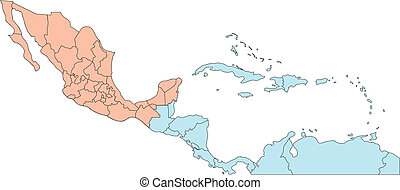 Central America with Editable Countries