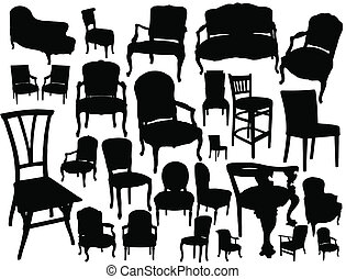 big collection of chairs - vector illustration