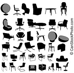 many illustrated designer chairs with high detail