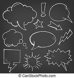 A vector set of chalk comic bubbles and elements on a blackboard