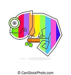 Chameleon Lizard Rainbow Color Cartoon Character Graphic