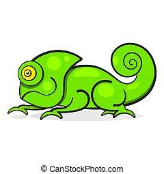 Chameleon Lizard Rainbow Color Cartoon Character Illustration