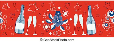 Champagne icons and stars vector seamless border. Champagne flutes, bottles, fizz, flower bouquet red, blue, white banner. Stylish repeat edging, ribbon for party, celebration, 4th July concept