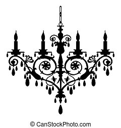 Baroque candlestick silhouette at white background, full scalable vector graphic included Eps v8 and 300 dpi JPG.