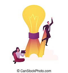 Characters Think Outside Concept. Woman Sitting with Tablet Pc, Businessman Take Off with Rocket Engine front of Huge Glowing Light Bulb, Creativity and Outstanding. Cartoon People Vector Illustration
