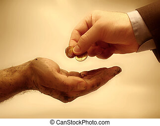 Wealthy person giving money to a poor one. (hands)