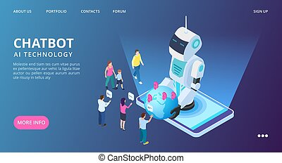 Chatbot landing page. Artificial intelligence vector web banner. Isometric AI robot with people and earth