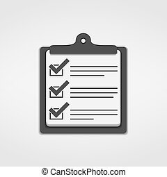 Clipboard with check list icon, vector eps10 illustration