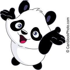 Cheerful baby panda