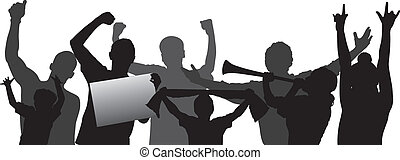 Cheering crowd vector silhouettes