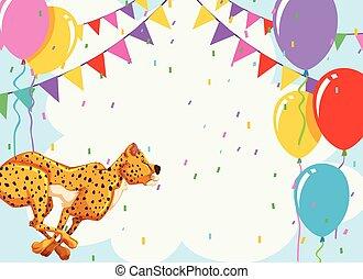 Cheetah on birthday template