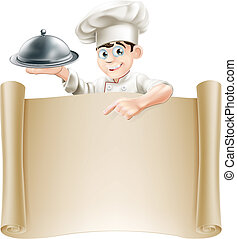 Drawing of a chef holding a silver platter or cloche pointing at a paper scroll or menu