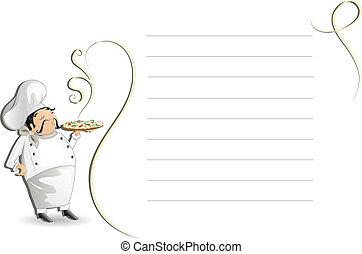 Chef with writing pad, menu, cmyk
