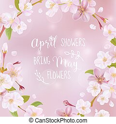 Cherry Blossom Spring Card - with Quote - in vector