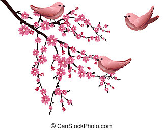Vector illustration of a branch with cherry blossom and colorful birds