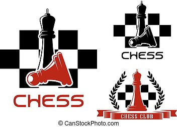 Chess club icons with standing black queen over fallen pawn and red queen decorated by wreath and ribbon banner on checkered background