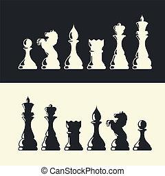Chess pieces collection. Vector