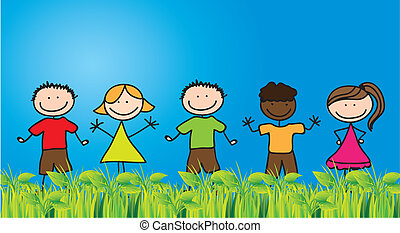 Children draw on grass with blue sky background, Vector illustration