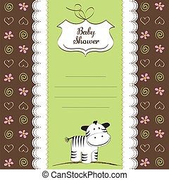 childish greeting card with zebra