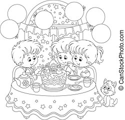Children at the holiday table with a Christmas cake