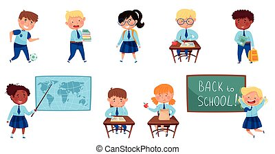 Children Attending Primary School Sitting at Desk and Learning Lesson Vector Set